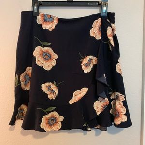 Satin floral wrap skirt